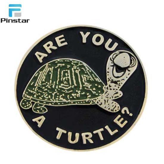 Wholesale Custom Black Nickel Plating Metal Cute Turtle Cartoon Lapel Pin  China