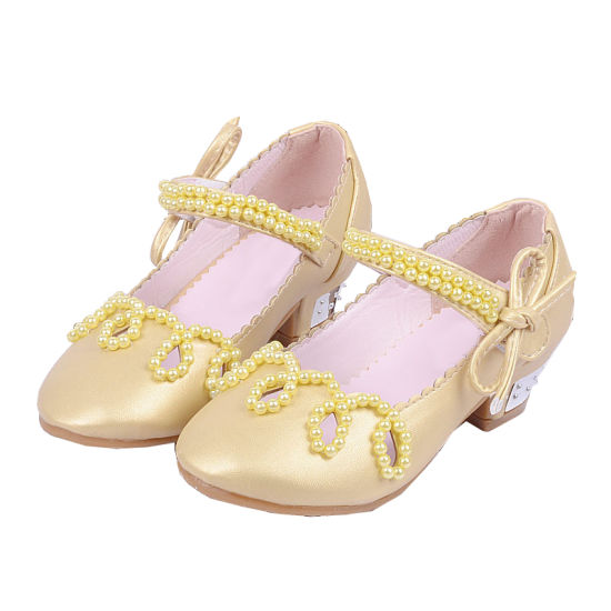 Fashion Pearl Princess Girls Dance Party Leather Sandals Crystal Shoes