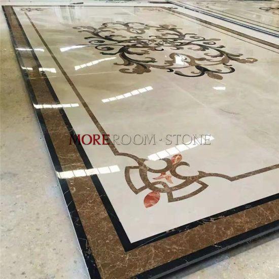 China Custom Waterjet Lobby Design Home Beige Marble Floor Design China Floor Medallion Inlay Waterjet Marble