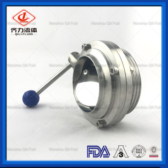 SS304 Stainless Steel Sanitary Male and Thread Butterfly Valve