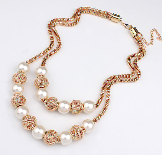 Fashion Gold Color Multilayer Choker Pearl Necklace Women Costume Statement Jewelry pictures & photos