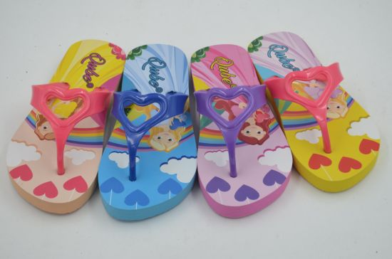c2c94fac7 Soft Eco EVA Summer Flip Flops Custom Printing Cartoon Beach Slippers for  Children
