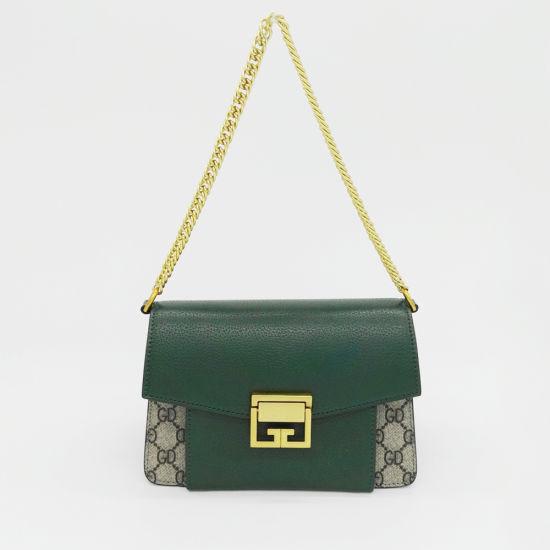 Fashion Designer Lady Handbag Metal Chain PVC Evening Hand Bag