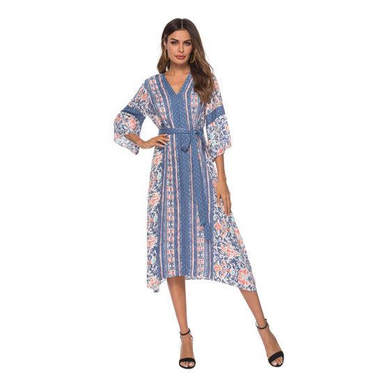 Summer V-Neck New Fashion Printed Three Quarter Sleeve Sexy Long Skirt