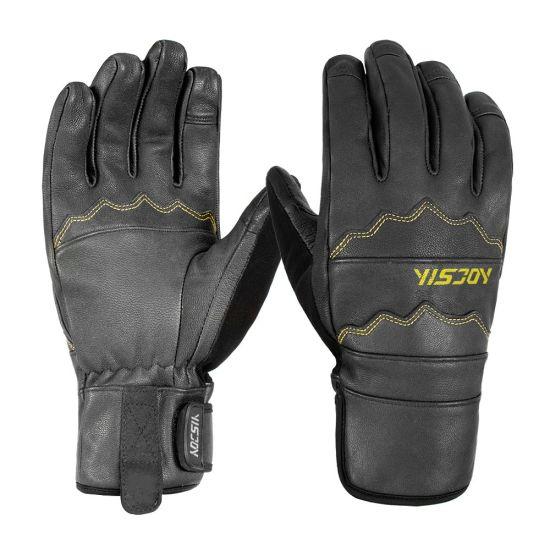 2019 New Arrival Full Finger Cow Hide Durable Leather Custom Ski Gloves Snowboarding Snow Gloves for Adult