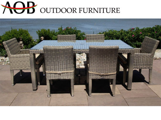 China Contemperary All Weather Outdoor Patio Home Restaurant Set Rattan Wicker Dining Furniture With Glass Top Table China Modern Furniture Garden Furniture