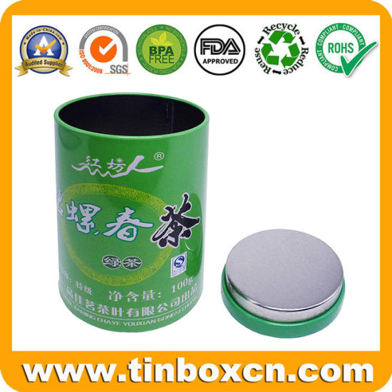 Customized Round Food Packaging Box Cylinder Metal Can Tea Tins for Tea Caddy Storage Container
