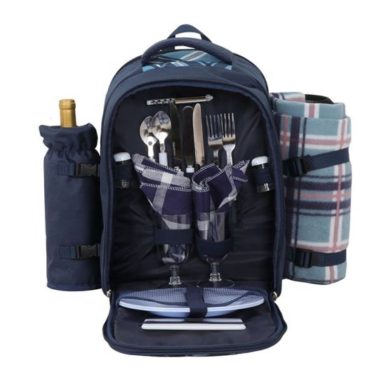 Polyester Picnic Backpack Bag for 4 Person with Cooler Compartment