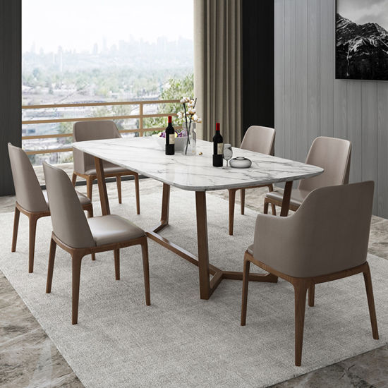 European Style Dining Room Furniture Stainless Steel Wooden Dining Table