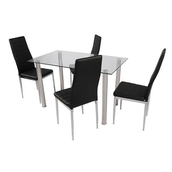 Free Sample Modern 4 Seater Glass Top Dining Table