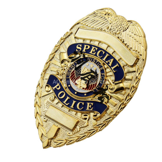Iron Brass Copper Zinc Alloy with Sandblased Laser Engraved Metal Custom Security Police Badges