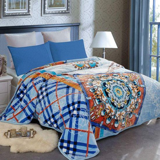 Heavy Fleece Blanket King Korean Double Ply Blanket Soft Warm Thick Korean Mink Printed Plush Fleece Blanket Asian Mink Bed Blanket