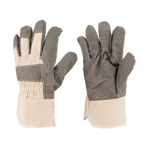 Grey Color PVC Impregnated Gardening Work Glove