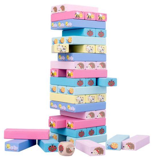 Children's Wooden Macaron-Color 51 PCS Stack High Block Game Jenga Building Blocks Montessori Toys for Kid