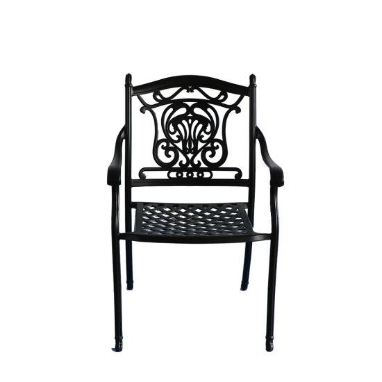 Stackable Metal Garden Chair High Quality Aluminum Armrest Patio Dining Chair
