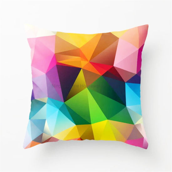 Hot Selling Ready to Ship Digital Printed Geometric Design Colorful Cushion Cover Set