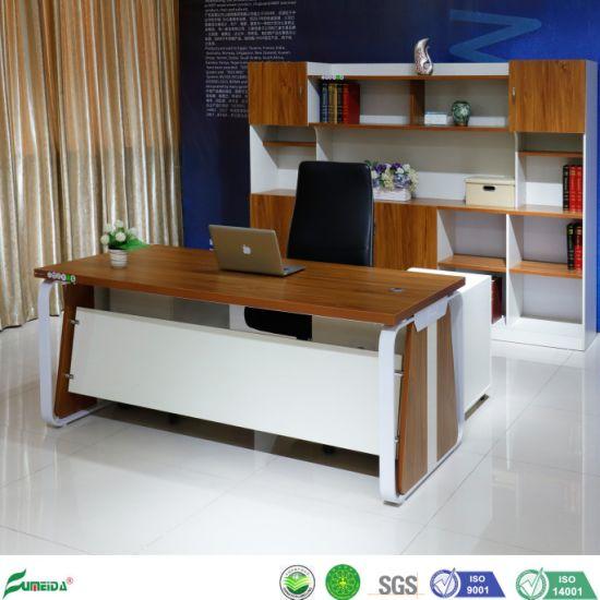 Melamine Board White Custom L Shaped Wood Manager Office Desk