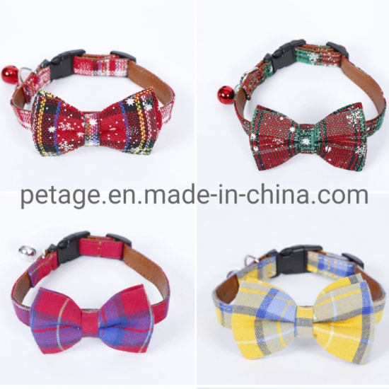 Supply PU Christmas Leather Pet Accessories Products Cat Collars
