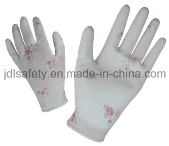Custom Pattern Colorful Printed Polyester Work Glove with PU Palm Coated (PN8014-3)