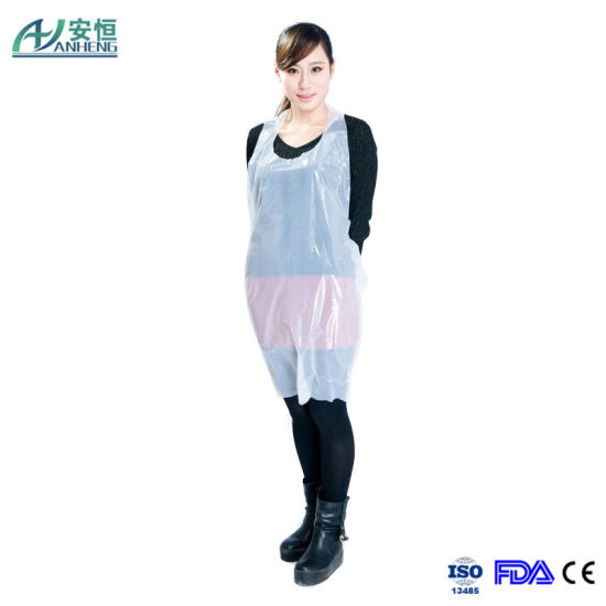 PE White Cleaning Disposable Catering Nurse Aprons