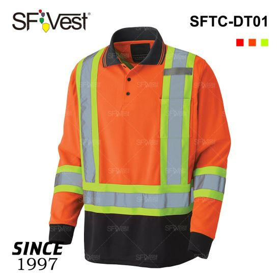 Wholesale High Visibility Work Security Long Sleeve T-Shirts Safety Workwear