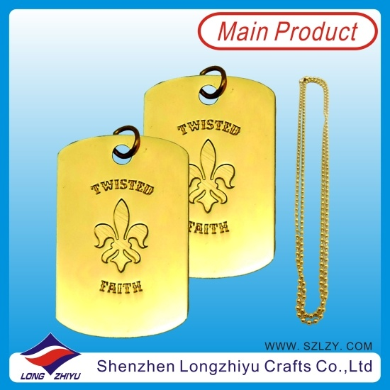 Zinc Alloy Gold Dog Tag Die Casting Words on Dog Tags with Ball Chain pictures & photos