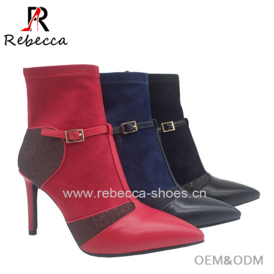 Stiletto High Heel Ladies Sexy Women Boots Buckle PU Suede Shoe for Ladie Boots