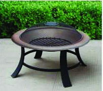30'' Wood Burning Fire Pit, Round Steel Fire Pit / Metal Grill