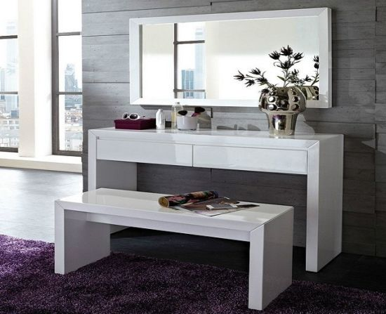 White Wooden Dresser Dressing Table With Bench And Mirror