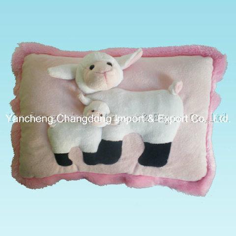 Plush Sheep Cushion with Animal Head