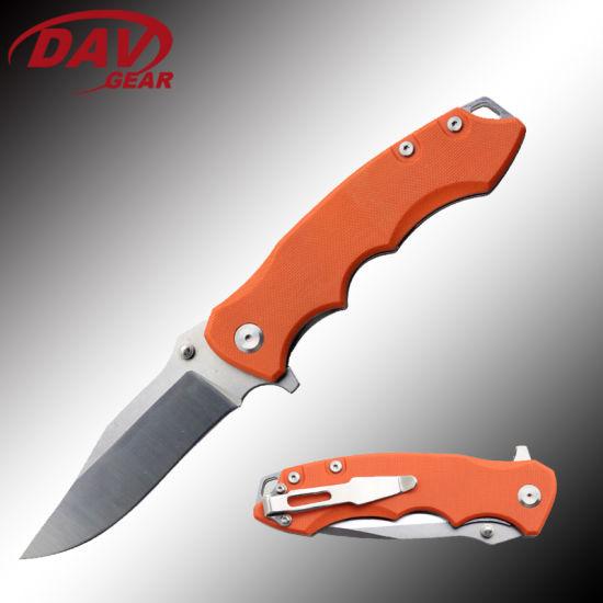 "4.9""Ball Bearing Folding Pocket Knife Stone Wash CNC Grinding Blade and G10 Handle"