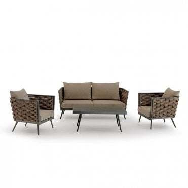 Garden Patio Wicker 3-Seat Sofa Outdoor Rope Weaving Sofa Set Aluminum Coffee Table Rattan Sofa with Pillow