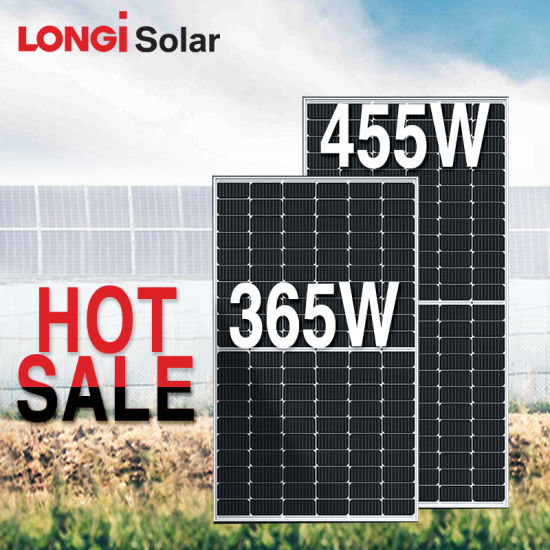 Longi High Efficiency Perc Mono Half Cell Solar Panel 360W 365W 370W 430W 435W 440W 445W 450W Solar Power Panel
