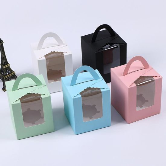 China Single Cupcake Boxes with Clear Window Handle Portable Macaron Box  Mousse Cake Snack Boxes Paper Package Box for Birthday Party - China  Birthday Paper Box and Single Cupcake Box price