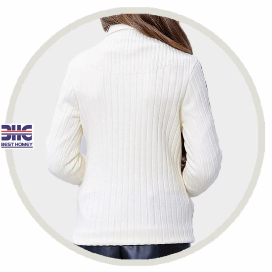 Kids′ 100% Cotton Turtleneck Knitted White Sweater Designs for Girl