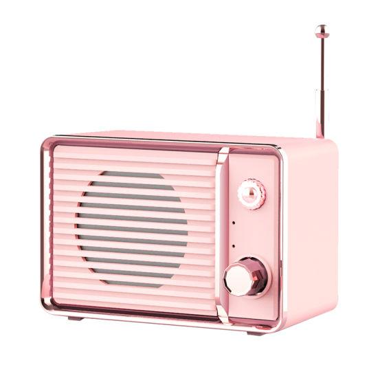 Amazon Hot HiFi Stereo Mini Portable TV Shape Retro Bluetooth Speaker with FM Radio Mic Aux TF U Disk