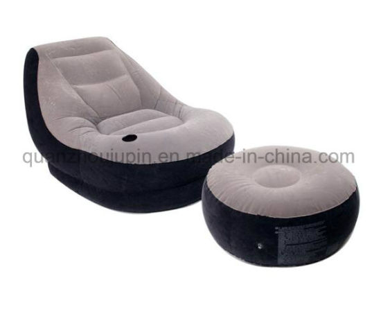 OEM PVC Home Suede Inflatable Sofa with Footstool