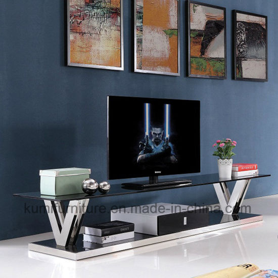 Hotel Furniture Style Glass TV Cabinet Stand