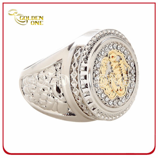 High Quality Two Tone Finish Custom Metal Ring with Rhinestone pictures & photos