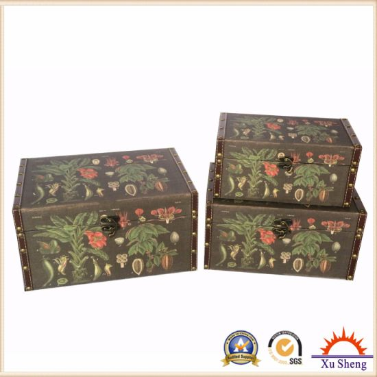 Wooden Antique Nesting Fabric Print Suitcase Storage Box Set of 3 pictures & photos