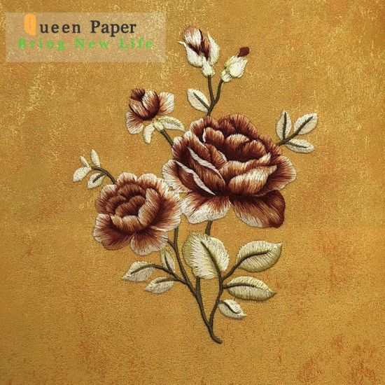 Fashion Embroider Design Non Woven Decorate Wallpaper Wall Covering Material pictures & photos
