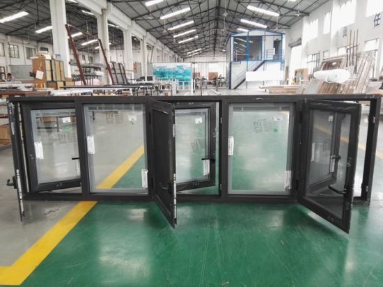 Power Coated Black Color Aluminum Casement Windows with Double Glazed pictures & photos