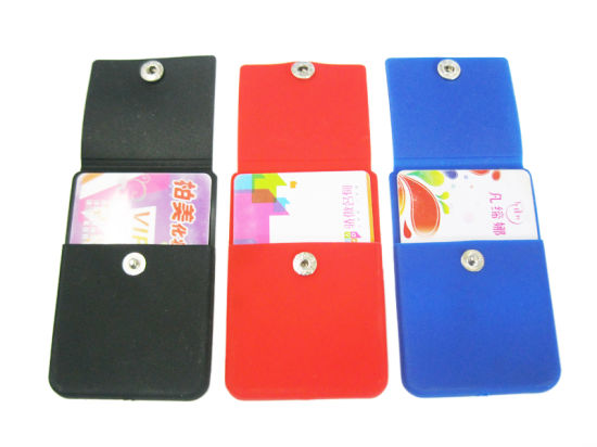 Promotional Waterproof 3m Adhesive Silicone Smart Wallet Name Card Holder, Card Pouch