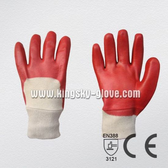 Red PVC Knit Wrist Chemical Glove (5110)