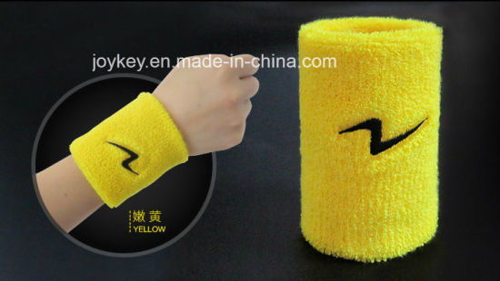 Customized Sports Cotton Terry Embroidery Wristband