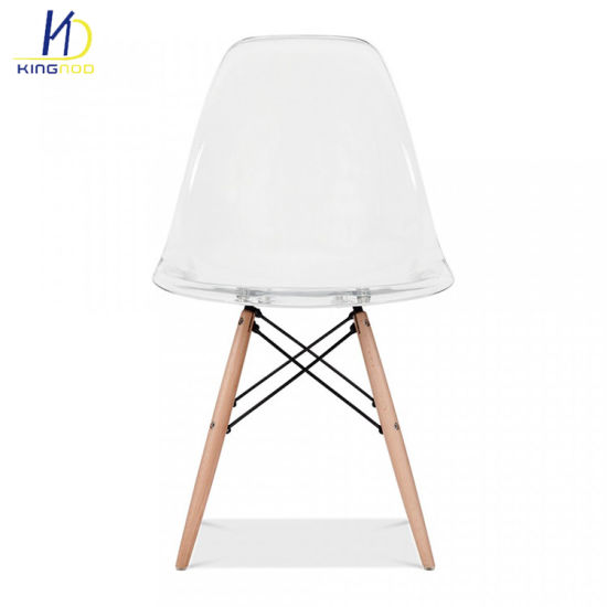 Replica Clear Plastic Transparent Wooden Legs Dining Chairs