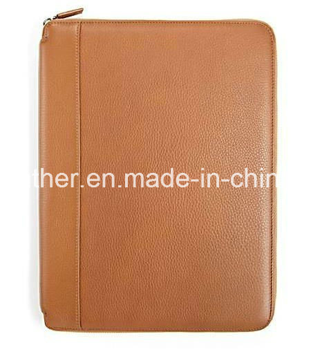 Custom Zip A4 Genuine Leather Folder Padfolio for Pads pictures & photos