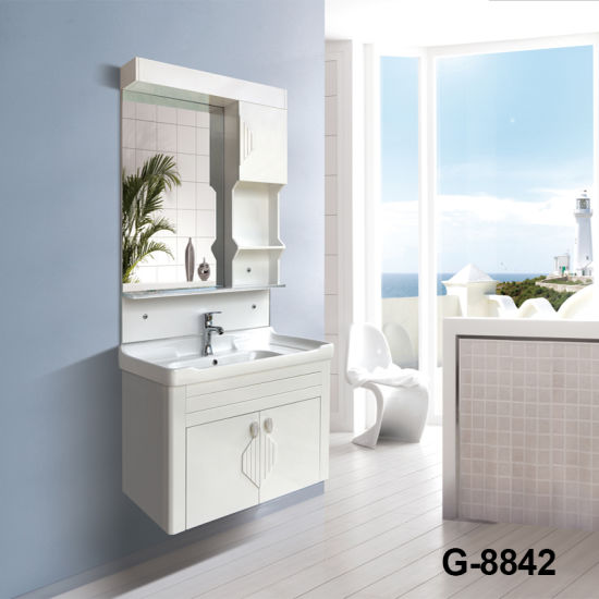 Chinese Antique White Gloss PVC Waterproof Bathroom Cabinets