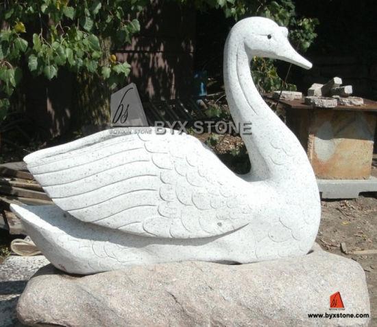Etonnant Granite Marble Stone Garden Swan Sculptures For Decoration