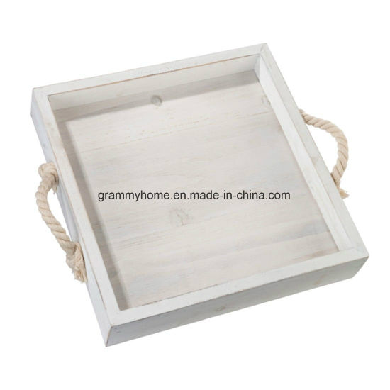 China Square Wood Wedding Tray With Rope Handles Home Decor